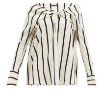 Twist-front Striped Crepe Top