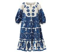 Embroidery-print Cotton-faille Midi Dress