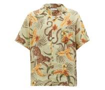 Cuban-collar Soleia-print Linen Shirt