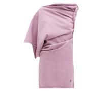 Draped One-shoulder Cotton-jersey Mini Dress