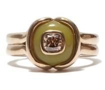 Cushion Diamond, Serpentine & 18kt Beige-gold Ring