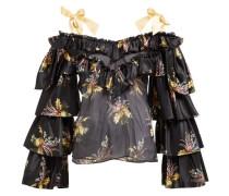 Ruffled Floral-print Silk-blend Blouse