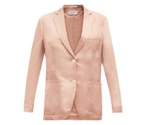 Paola Single-breasted Linen-blend Satin Jacket