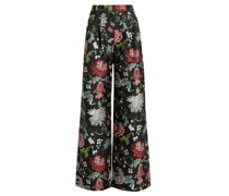 Floral-jacquard Wide-leg Trousers