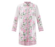 Cap-sleeve Floral-print Cotton Mini Shirt Dress