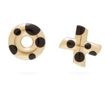 Polka Dot Xo Onyx & 14kt Gold Earrings