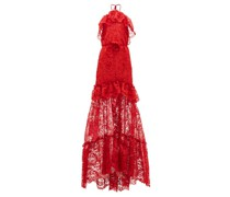 Ruffled Halterneck Guipure-lace Gown