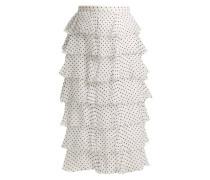 Flocked Polka-dot Chiffon Skirt