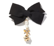 Crystal-charm And Faux-pearl Bow Brooch