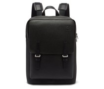 Military Grained-leather Backpack