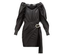 Mona Crystal-buckle Leather Dress