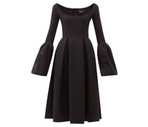 Bell-sleeve Pleated Crepe A-line Dress