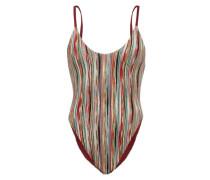 High-cut Striped-lamé Swimsuit