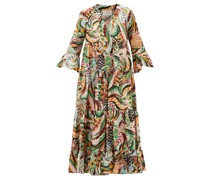 Jennifer Jane Bird-print Cotton Midi Dress