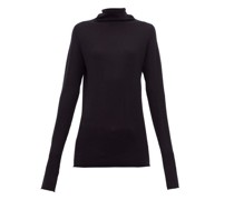 Sheer Raw-edge Funnel-neck Cashmere Sweater