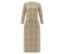 Leopard-jacquard Crepe Midi Shift Dress