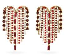 Heart Crystal-embellished Fringe Earrings