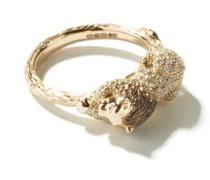 Lion Diamond & 18kt White Gold Ring