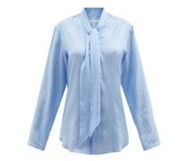 Pussybow Striped Silk Shirt