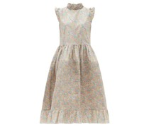 Cindy Pintucked Floral-print Cotton Dress