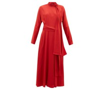 Bea Tie-neck Silk-crepe Dress