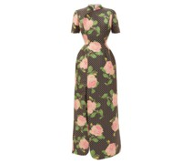 Slit-hem Polka Dot Rose-print Duchess-satin Dress