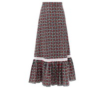Floral-print Tiered Cotton Midi Skirt