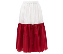 Bi-colour Banded Cotton-poplin Midi Skirt