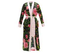 Floral-print Silk-satin Robe