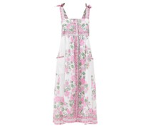 Tie-shoulder Floral-print Cotton-voile Dress