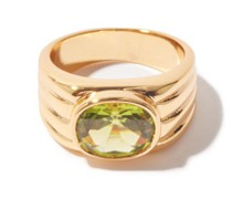 Ribbed Crystal & 24kt Gold-plated Ring