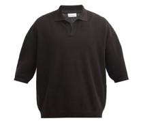 V-neck Linen-blend Polo Sweater