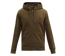 Logo-embroidered Zip-through Hooded Sweatshirt