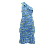 Aerin Ruched Floral-print Mesh Dress