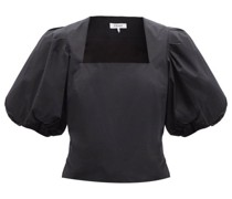 Nina Puffed-sleeved Cotton-poplin Cropped Top