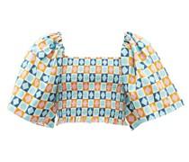 Spritz Diamond Dots-print Puff-sleeve Cotton Top
