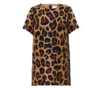 Leopard Sequinned Georgette Mini Dress