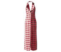 Halterneck Gingham Sequinned Dress