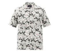 Kahana Cuban-collar Floral-print Poplin Shirt