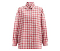 Dropped-sleeve Checked Wool-flannel Shirt