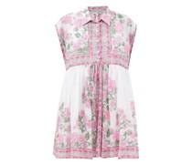 Floral-print Cotton-voile Mini Shirt Dress