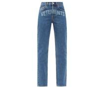 Lasered-logo Slim-leg Jeans