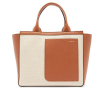 Shopping Mini Canvas And Leather Tote Bag