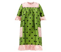 Raggedy Embroidered Polka-dot Silk-taffeta Dress