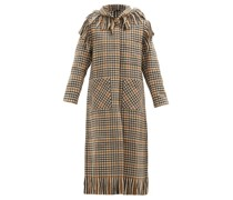 Fringed Checked Wool-blend Hooded Coat