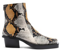 Leone Snake-print Square-toe Leather Chelsea Boots