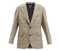 Single-breasted Elbow-patch Checked Tweed Blazer