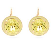 Lab-sapphire, Enamel And 14kt Gold Drop Earrings