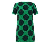 Polka-dot Sequinned Cotton Mini Dress