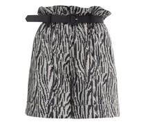 Zebra-sequinned Paperbag-waist Shorts
